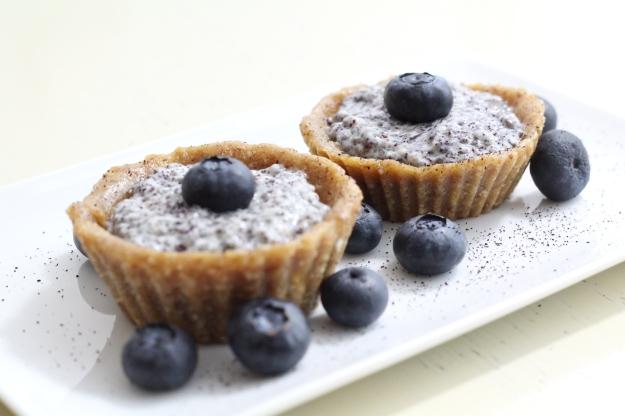 Chiapudding-Cupcakes mit Blaubeeren (roh-vegan)
