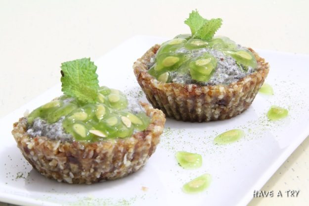 Kiwano-Chiapudding Cupcakes (raw, vegan, glutenfree)