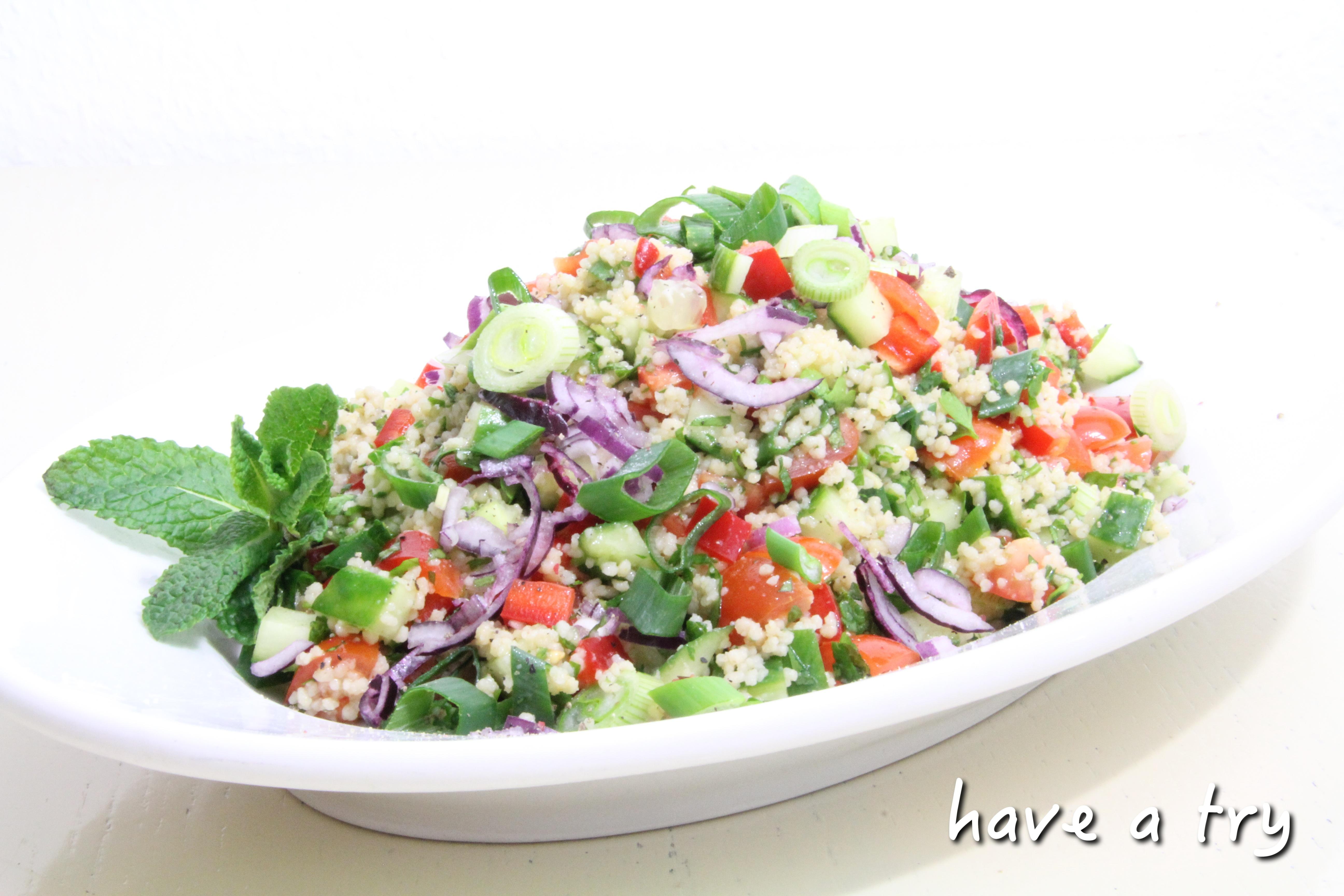 couscous salat mit minze und petersilie vegan have a try. Black Bedroom Furniture Sets. Home Design Ideas