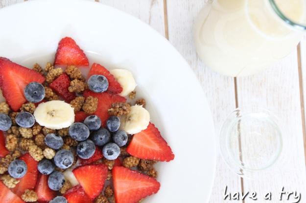 Crunchy Maulbeeren.Frühstück mit Bananenmilch (roh, vegan, 801010)